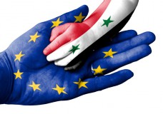 Man holding baby hand, Europen Union and Syria flags overlaid